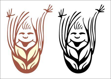clip art wheat: Happy wheat ear