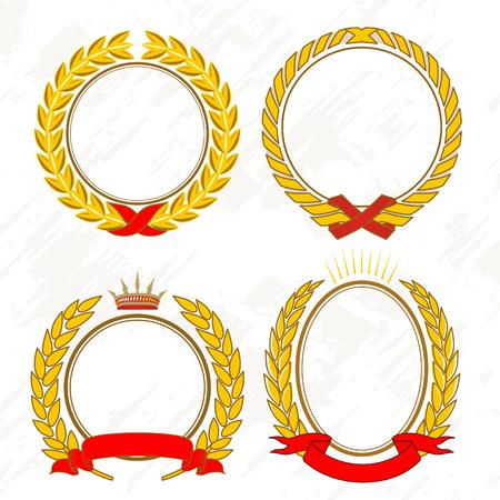 king crown laurel icon round: Vector - Gold laurel wreath Illustration