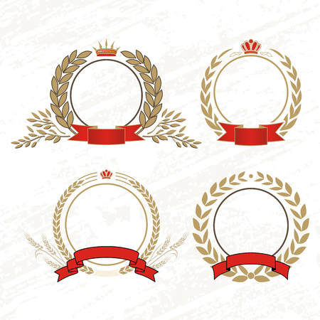 king crown laurel icon round: Vector laurel wreath