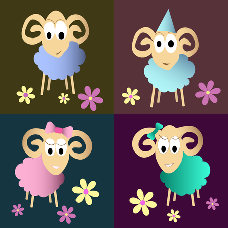 fleecy: cute sheeps cartoon set