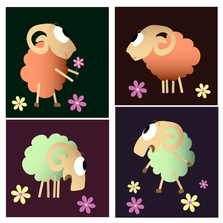 fleecy: cute sheeps cartoon animal set Illustration