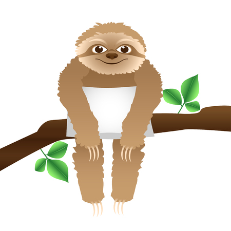 sloth with a pillow sitting on a branch,  isolated on white Vector