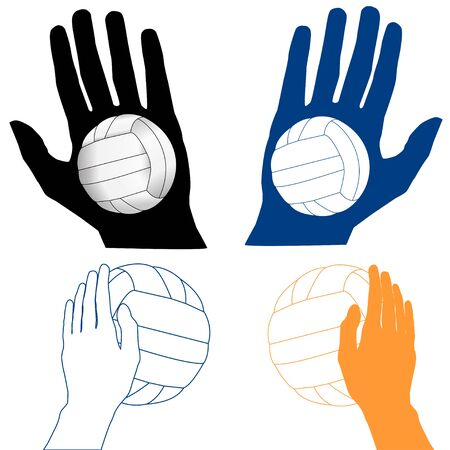 isoleted: Four Volleyball Icons, isoleted on white Illustration