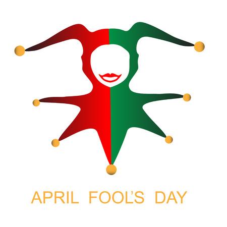 arlecchino: April Fools day card con arlecchino Vettoriali