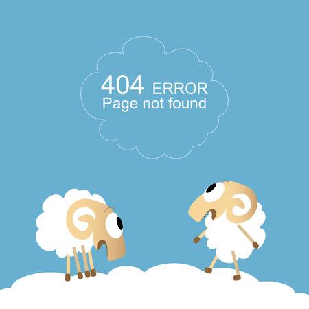 pecora: Pagina non trovata, errore 404 con le pecore divertente Vettoriali