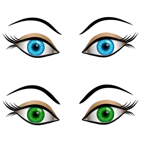 eye contact: Set of cartoon female eyes blue and green colors