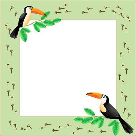 Frame with toucans sitting on a  branch, birds tracks around Vector