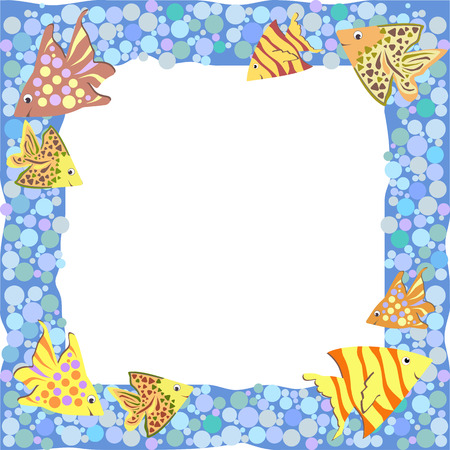 Frame with colorful cute cartoon fishes and bubbles Vector
