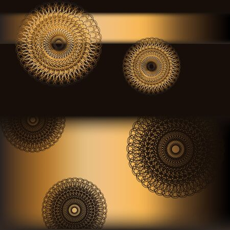 Decorative gold background with round patterns on black. Vector