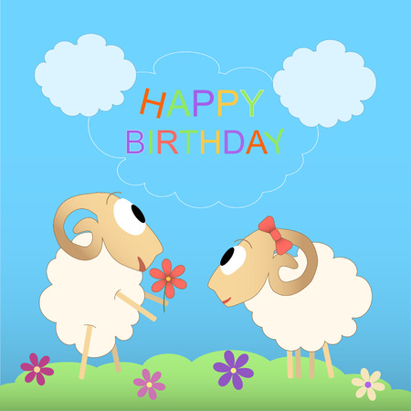 Happy Birthday Cute Card With Funny Sheep Royalty Free Cliparts
