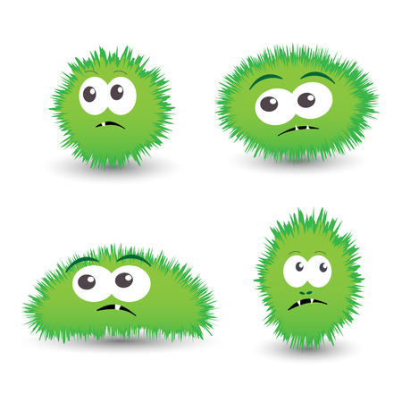 bacteria: Vector set of cartoon germs, green bacteria