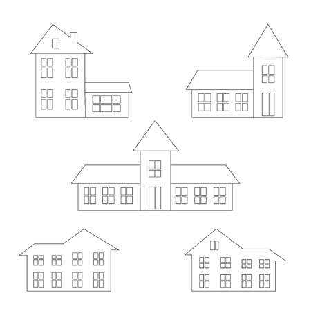 rural houses: rural houses, thin line icons set, vector illustration