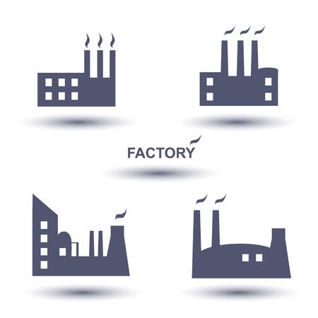 batiment industriel: B�timent industriel plantes d'usine et de puissance, ic�ne, ensemble Illustration