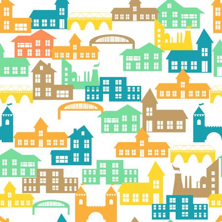 case colorate: Seamless pattern con case colorate. Illustrazione vettoriale