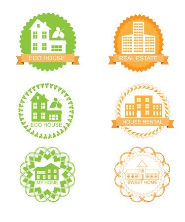 sweet home: Etiquetas de color fijan para la casa del eco, de bienes ra�ces, alquiler de casa, dulce hogar Vectores