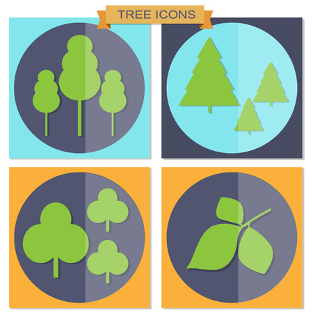 colorful tree: Set of flat colorful tree icons for web design Illustration