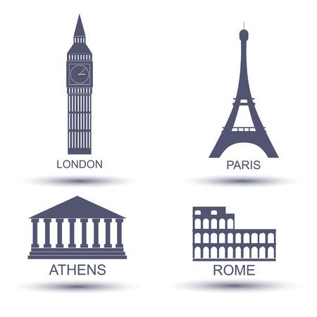 European capital icon set. London Paris Rome  Athens