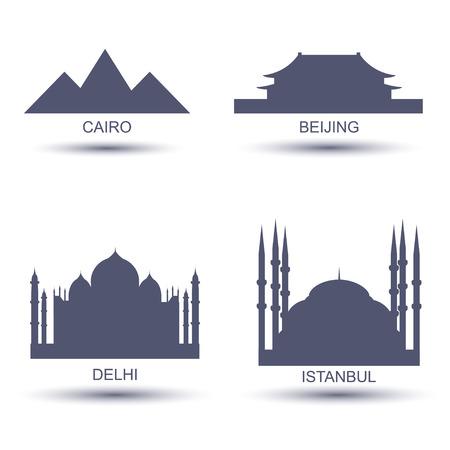 City Icons set, Cairo Beijing Delhi Istanbul Vector