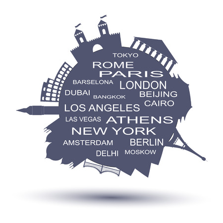 Travel agency round logo. Famouse places vector illustration