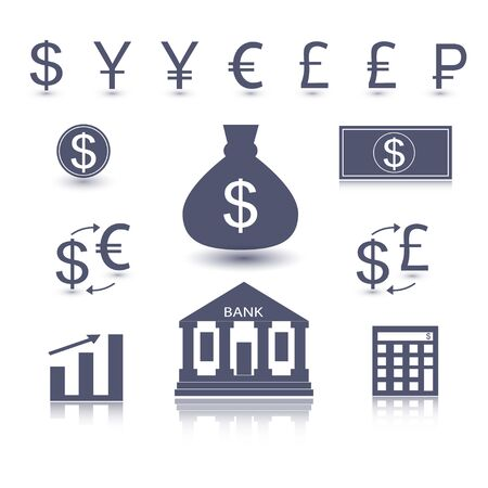 yuan: Currency signs - dollar euro yen yuan pound lira rouble pound. Vector money symbol. Business icon Illustration