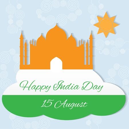 15 august: 15 august Indian Independence Day celebrations greeting card with flag and Taj Mahal Illustration