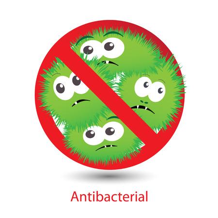 bacterias: Signo Antibacterial con divertidos dibujos animados bacterias verdes.