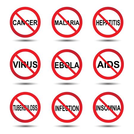 virus sida: Ilustraci�n del vector del icono de detenci�n �bola c�ncer tuberculosis paludismo concepto virus del sida hepatitis infecci�n insomnio, fondo