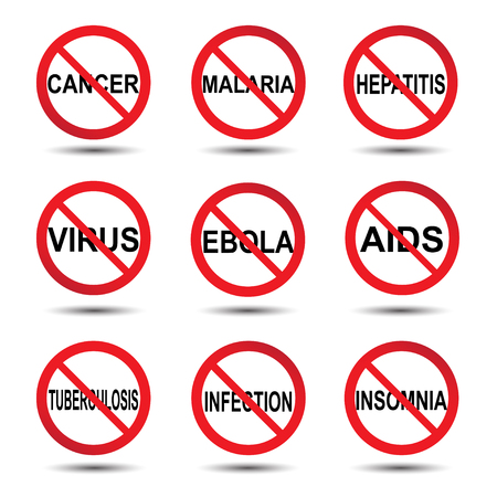 malaria: Vector illustration of stop icon ebola tuberculosis cancer malaria insomnia infection hepatitis aids virus concept, background Illustration