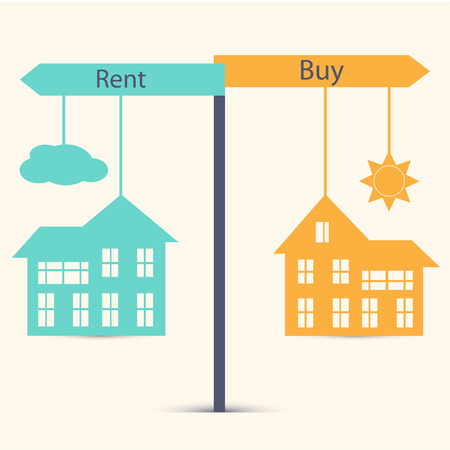 buying questions: Concept of choice between buying and renting. House symbol vector illustration