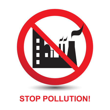 pollution: Stop Pollution Icon Sign. Silhouette of the Plant. Vector Illustration Illustration
