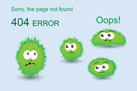 Page not found, 404 error with funny green monsters Ilustração