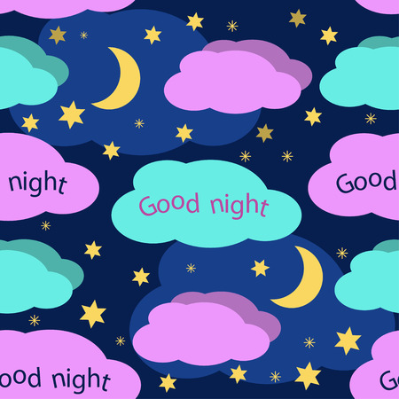 star night: Good Night seamless pattern. Night sky with colorful stars and clouds vector background