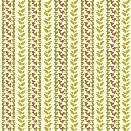 old wallpaper: Vector autumn plant vertical seamless pattern background with fun leaves and branches forming a floral texture.