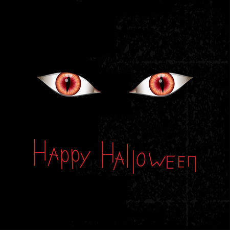 Happy Halloween card with red eyes. Vector illustration Ilustração