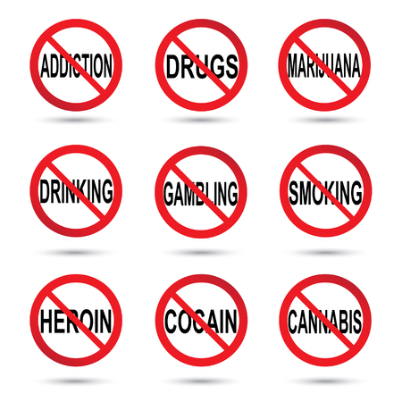No drugs, smoking, gambling and alcohol sign. Vector illustration Ilustrace