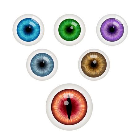 ojos verdes: Conjunto de bolas de los ojos de colores. Bola del ojo verde. Ojo azul. Ojo gris. Ojo rojo. Ojo morado. Ojo cafe. Ilustración del vector aislado en blanco Vectores