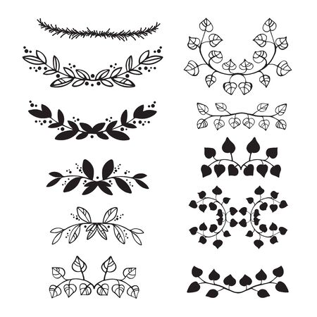 sprigs: Elegant floral decorative elements set with branches and leaves isolated on white. Collection of black artistic hand sketched floral decorative doodle sprigs. Vector illustration