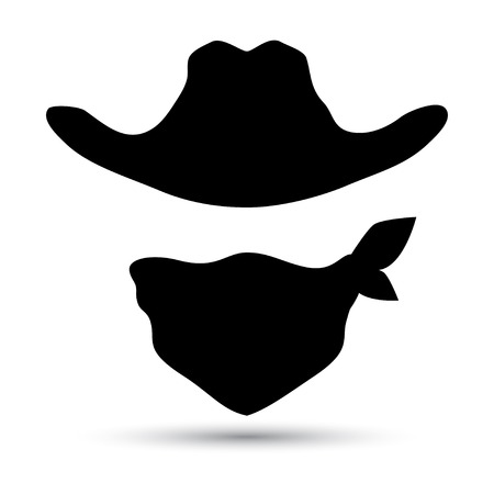 cartoon gangster: Cowboy icon isolated on white. Retro hat and scarf. Vector illustration