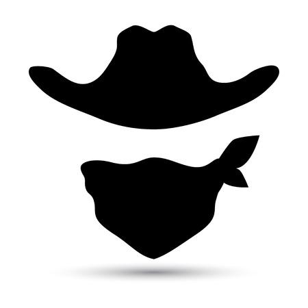 Cowboy pictogram geïsoleerd op wit. Retro muts en sjaal. Vector illustratie