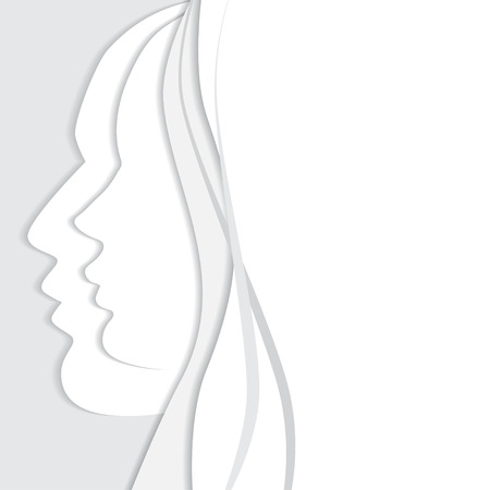 romantic sex: Vetor beautiful woman and man profiles. White paper silhouette background with space for your text