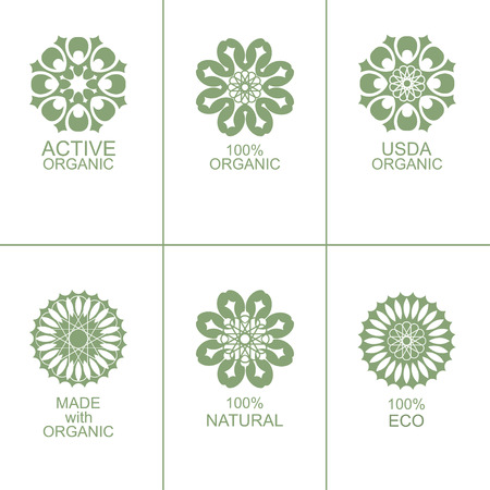 usda: Set of natural organic eco badges and green labels. Vector illustration. Made with organic. Active organic