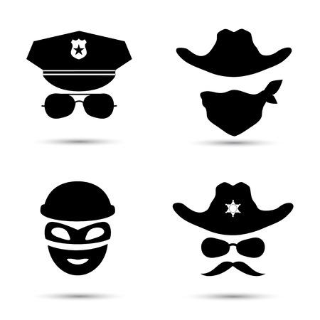 흰색에 고립 된 검은 벡터 아이콘의 집합입니다. 경찰 아이콘입니다. 도둑 아이콘입니다. 보안관 아이콘입니다. 카우보이 아이콘
