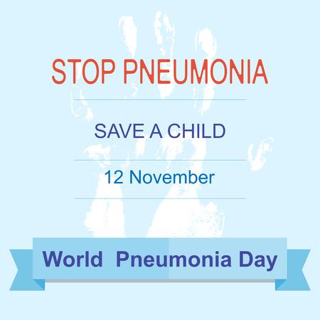 pneumonia: World Pneumonia Day 12 november. Stop Pneumonia. Save a child. Vector illustration