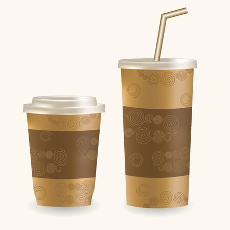 plastic straw: Plastic coffee cup ans disposable cup for beverages with straw over white background. Vector illustration