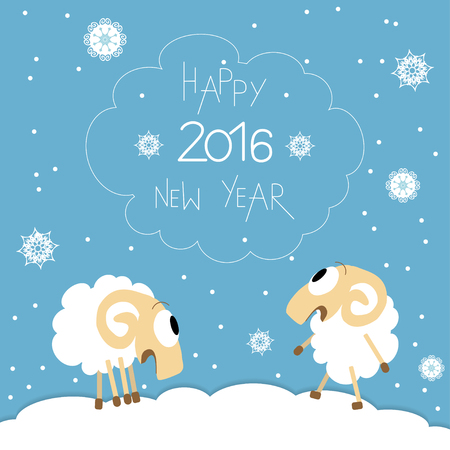 year of sheep: New Year card. Cute funny screaming sheep celebrate the New Year. Vector illustration