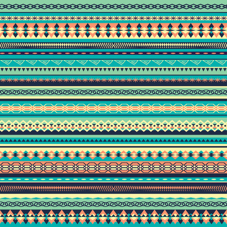 turq: dise�o del patr�n colorido �tnica sin fisuras con la ilustraci�n strips.Vector vertical. fondo de la turquesa
