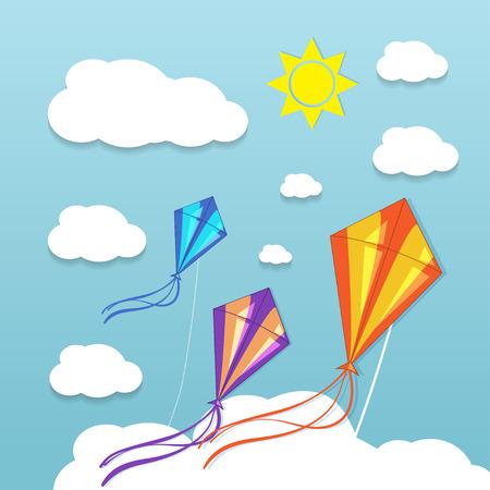papalote: Tres cometas en el cielo nublado. Ilustración vectorial
