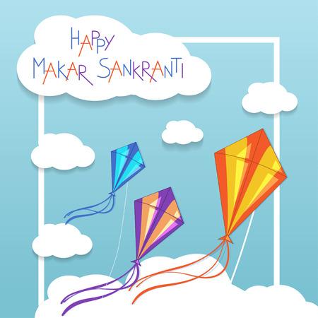 papalote: Feliz tarjeta de Makar Sankranti con cometas. Ilustración vectorial