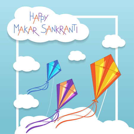 flying kite: Happy Makar Sankranti card with kites. Vector illustration