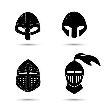 knight armor: Vector set of monochrome knight helmets isolated on white. Black icons of cavalier